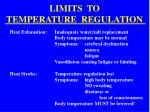 limits to temperature regulation