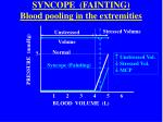 syncope fainting blood pooling in the extremities