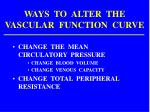 ways to alter the vascular function curve