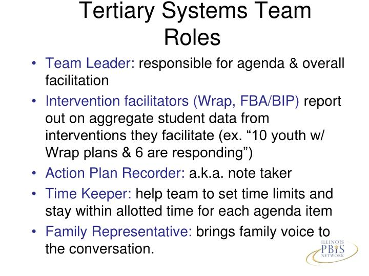 Tertiary Systems Team Roles
