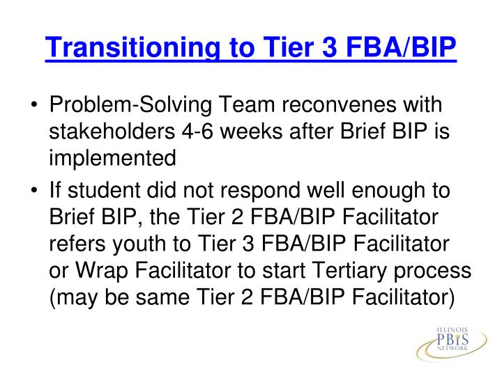 Transitioning to Tier 3 FBA/BIP