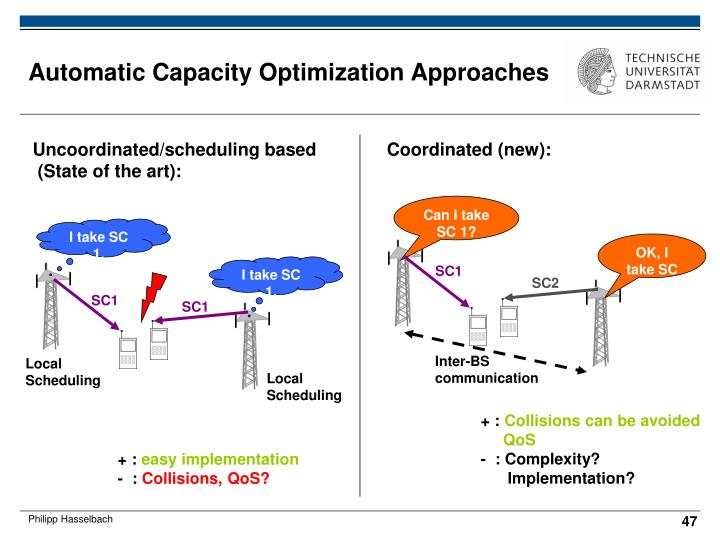 Automatic Capacity Optimization Approaches