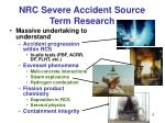 nrc severe accident source term research