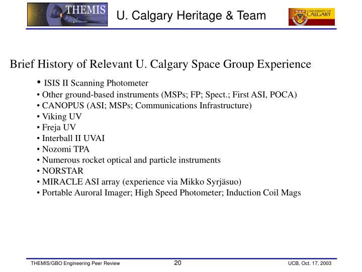 U. Calgary Heritage & Team