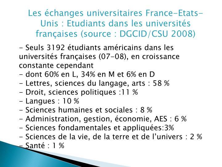 Les échanges universitaires France-Etats-Unis : Etudiants dans les universités françaises(sourc...