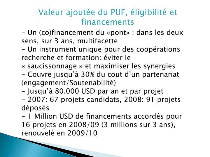 Valeur ajoutée du PUF, éligibilité et financements