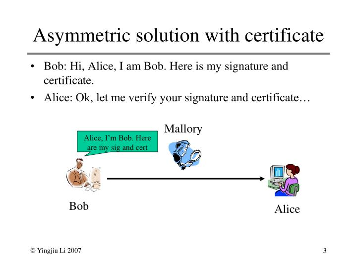 Asymmetric solution with certificate