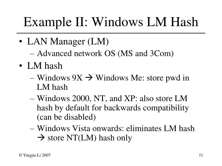 Example II: Windows LM Hash