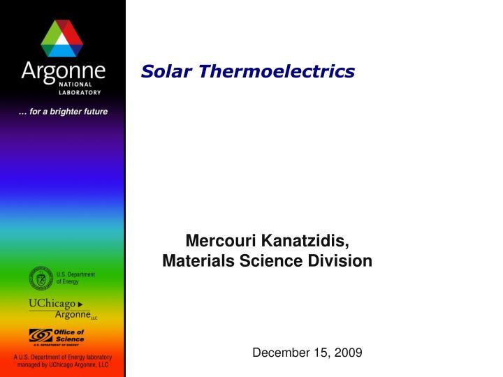 Solar thermoelectrics