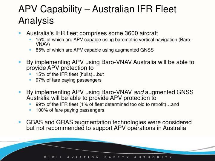 APV Capability – Australian IFR Fleet Analysis
