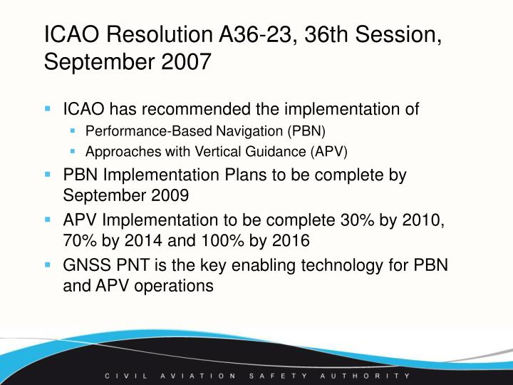Icao resolution a36 23 36th session september 2007