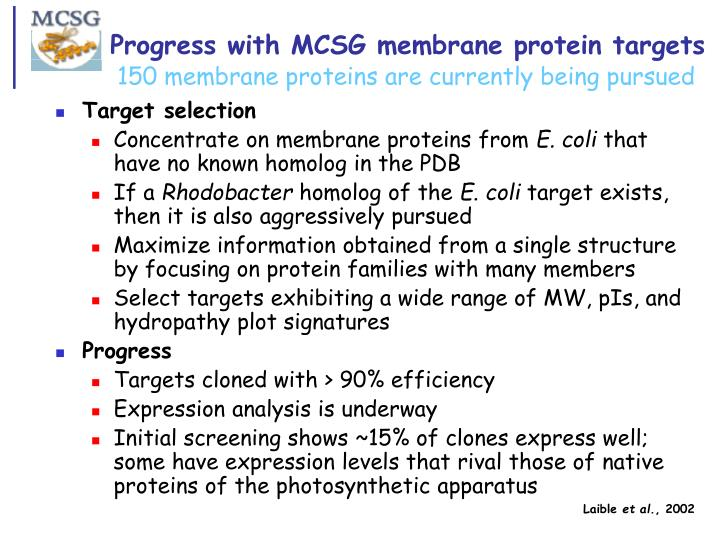 Progress with MCSG membrane protein targets