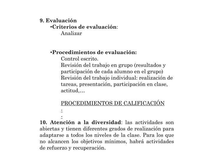 9. Evaluación