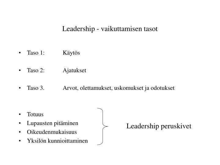 Leadership - vaikuttamisen tasot