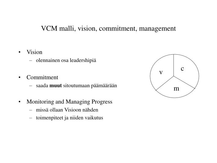 VCM malli, vision, commitment, management