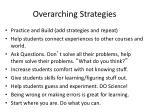 overarching strategies