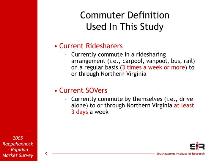 Commuter Definition                               Used In This Study