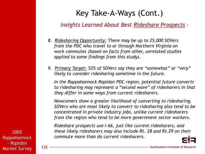 Key Take-A-Ways (Cont.)