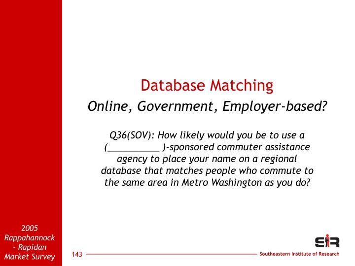 Database Matching