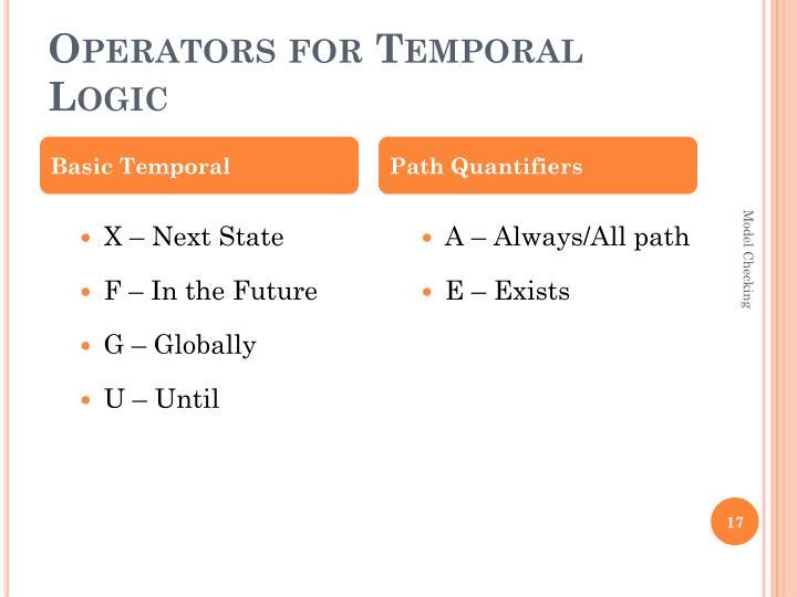 Operators for Temporal Logic