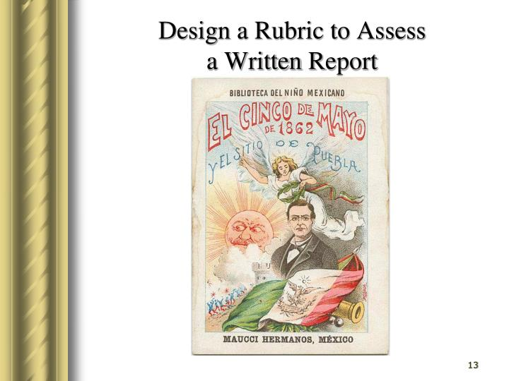 Design a Rubric to Assess