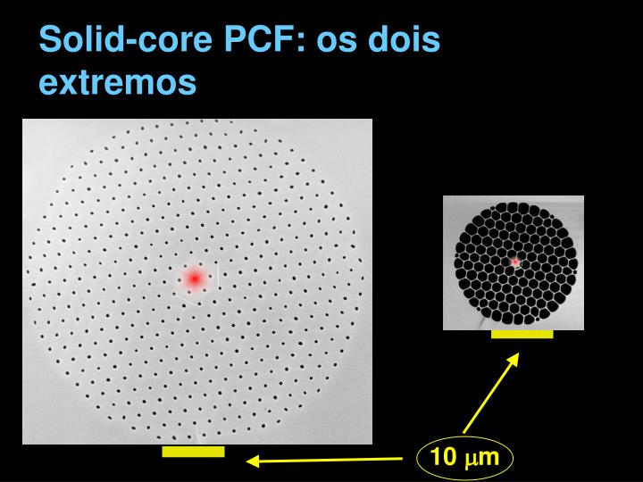 Solid-core PCF: os dois extremos