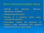 social and psychological status