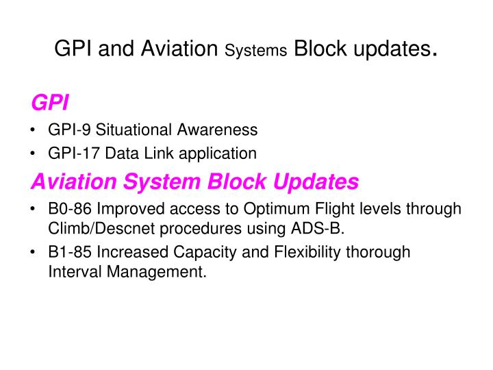GPI and Aviation