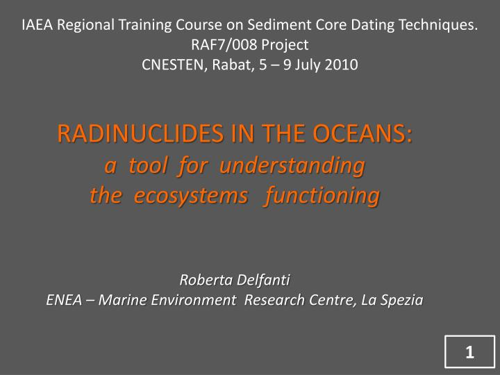 IAEA Regional Training Course on Sediment Core Dating Techniques.  RAF7/008 Project