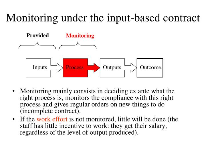 Monitoring under the input-based contract