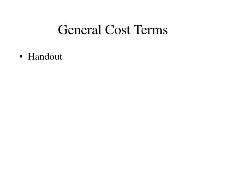General Cost Terms