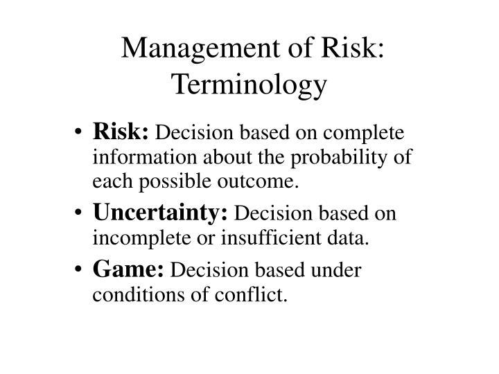 Management of Risk: