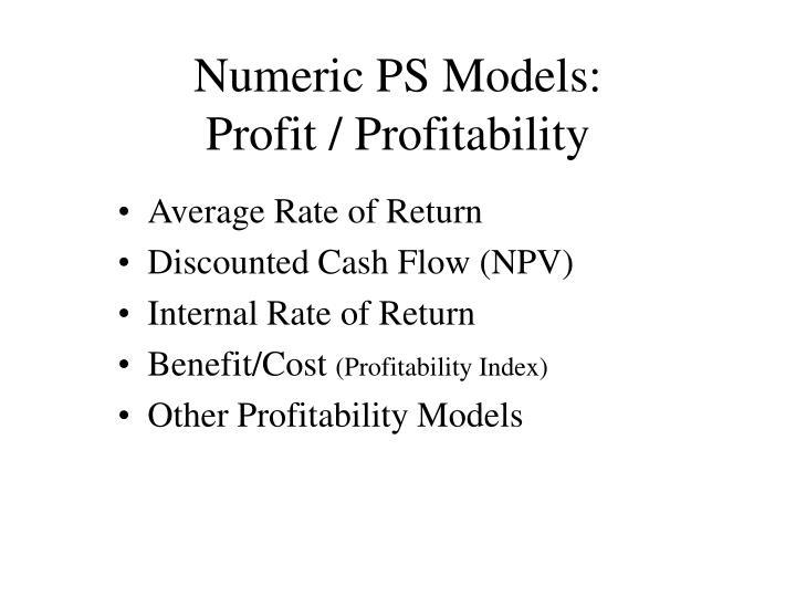 Numeric PS Models: