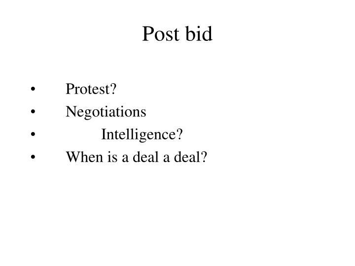 Post bid