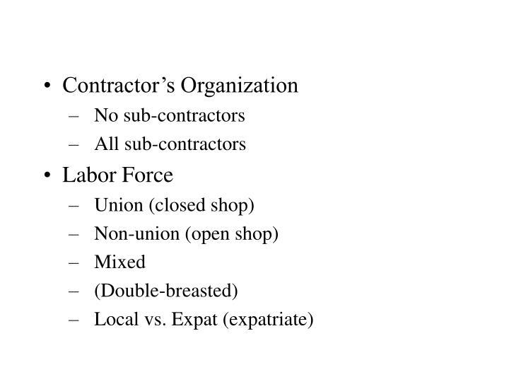 Contractor's Organization