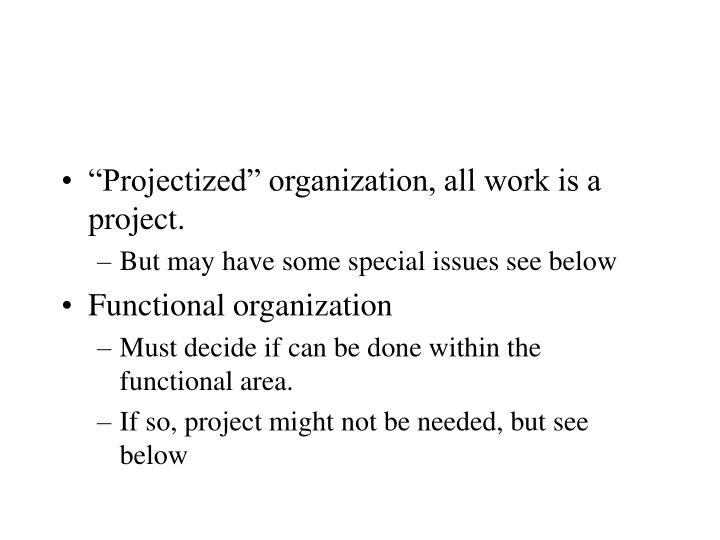 """""""Projectized"""" organization, all work is a project."""