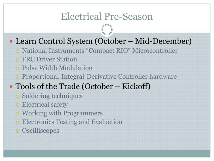 Electrical Pre-Season