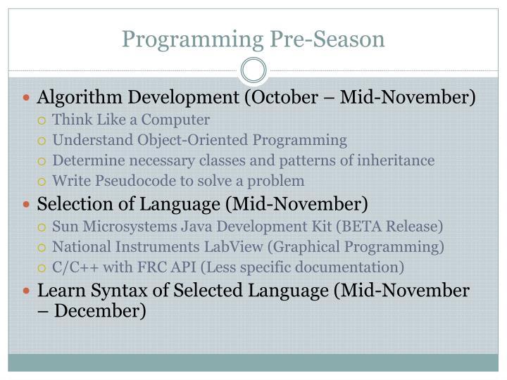 Programming pre season