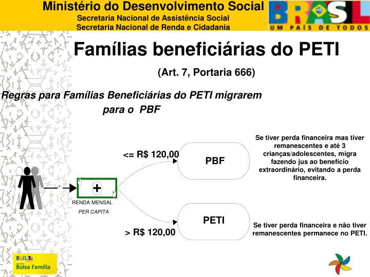 Regras para Famílias Beneficiárias do PETI migrarem para o  PBF