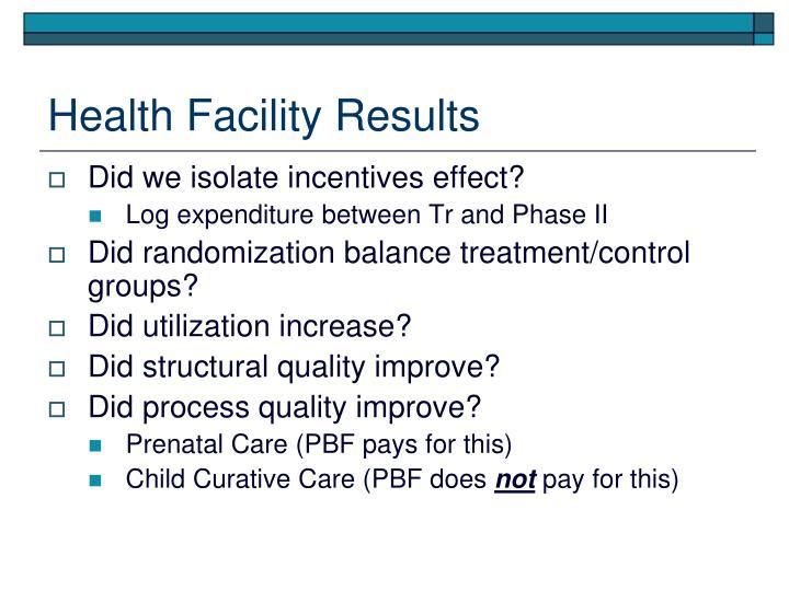 Health Facility Results