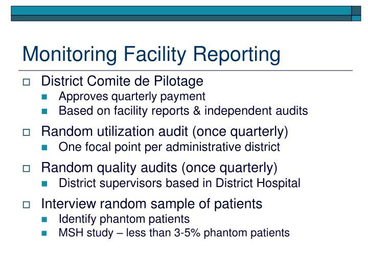Monitoring Facility Reporting