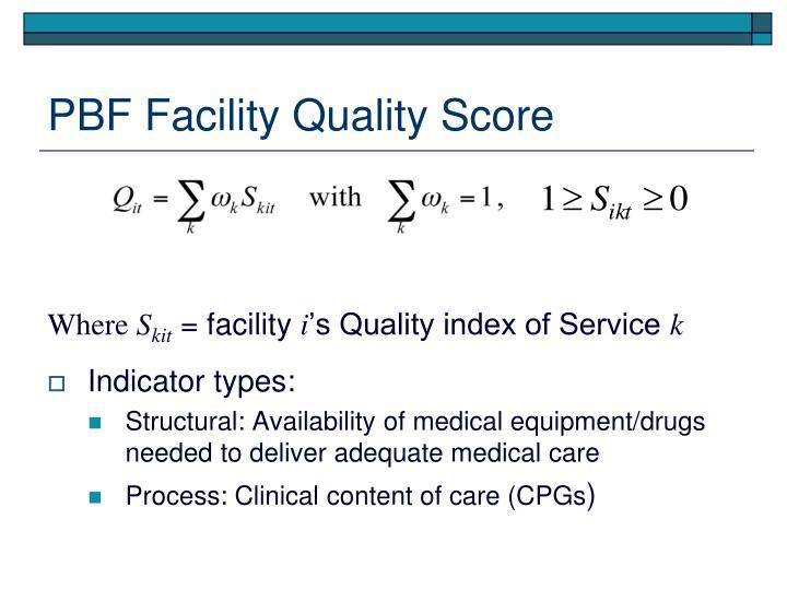 PBF Facility Quality Score