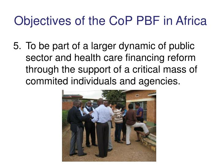 Objectives of the CoP PBF in Africa