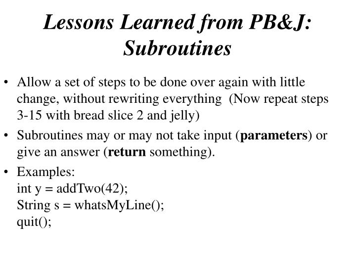 Lessons Learned from PB&J: