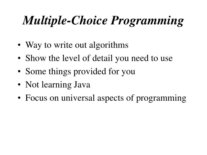 Multiple choice programming