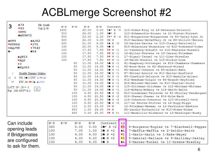 ACBLmerge Screenshot #2