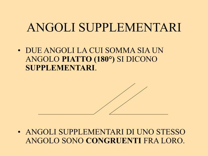 ANGOLI SUPPLEMENTARI