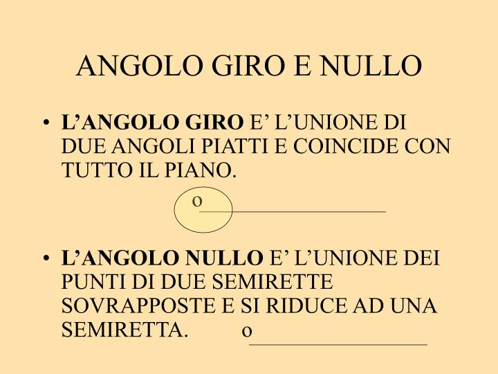 ANGOLO GIRO E NULLO