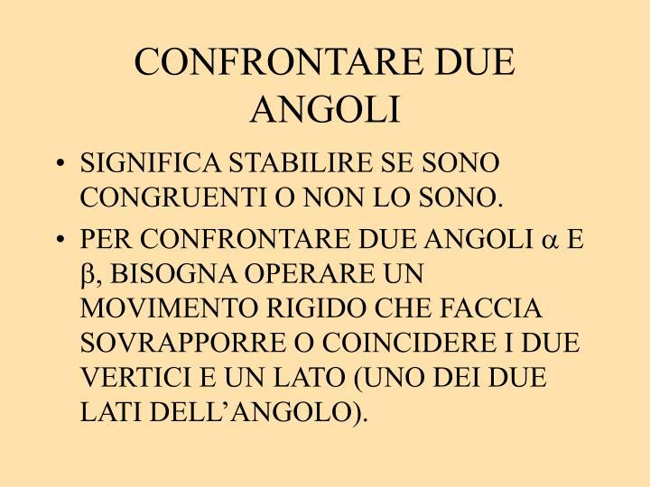 CONFRONTARE DUE ANGOLI