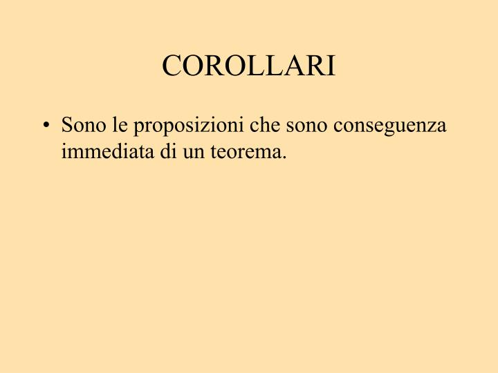 COROLLARI